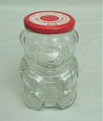 KRAFT Clear Glass Strawberry Jam Bear 1988 Jar with Lid Advertising Collectibles