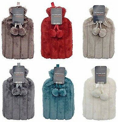Hot water bottle with faux fur cover and pom poms GREY/SILVER
