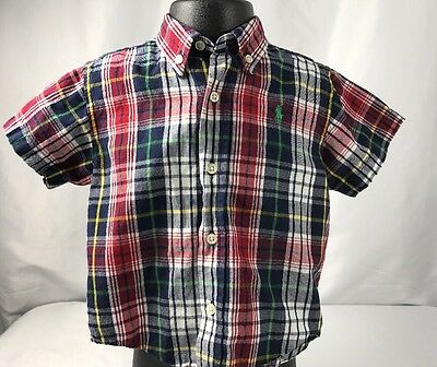 Baby Boy Ralph Lauren 24 Mos Red Navy Plaid Shirt Short Sleeve Button Up Collar