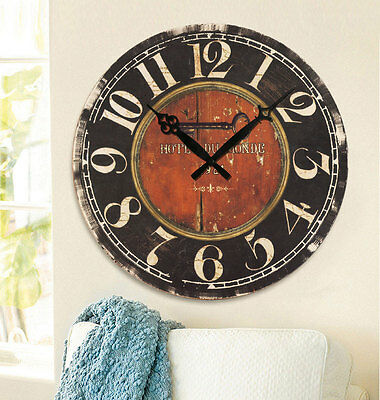 Wooden Wall Clock Antique Retro Stripe Country Style Rustic Digital Home Decor