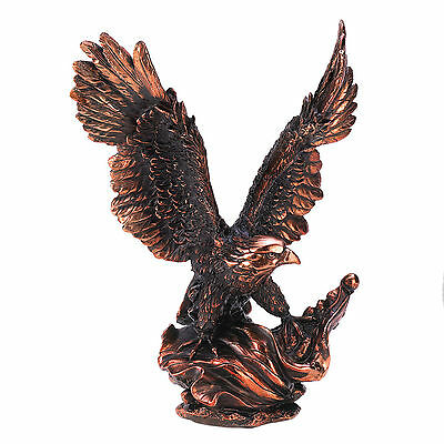 EAGLES: Striking Piece Magestic Bronze Finished Resin Eagle In Flight Statue NEW