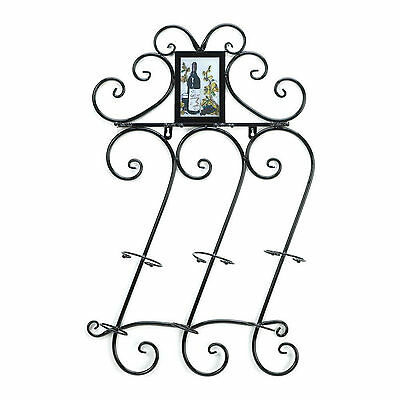 WINE HOLDER: Hanging Wrought Iron Scrollwork Bottle and Glass Wall Rack NEW