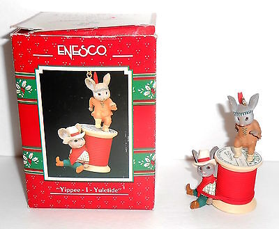 Enesco YIPPEE I YULETIDE Mouse Cowboy 1990 Christmas Ornament in Box 564982