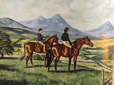 JEANNE MELLIN VINTAGE ART PRINT HORSE Bay Pony- Mountain Riding English Tack