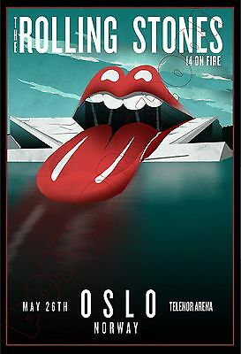 Rolling Stones - On Fire Tour - OSLO - May  2014 - Poster 13 x 19