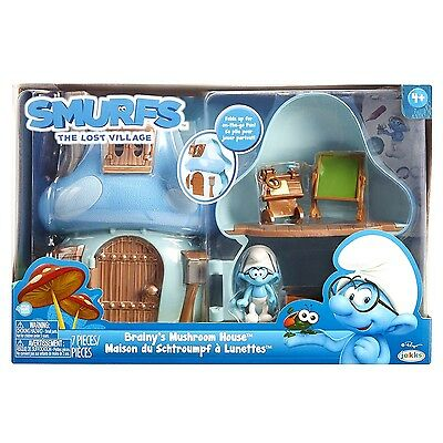 Smurfs The Lost Village Brainy's Mushroom House Playset with Figure
