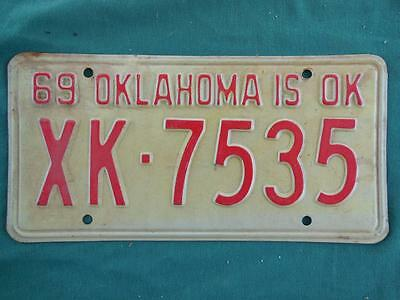 1969 Oklahoma Xk-7535 License Plate Trucks Garage Man Cave Auto Shop Hot Rod