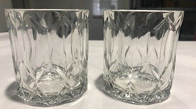 Set Of 2 Crown Royal Whiskey Round Clear Faceted Glass Drinking Glasses