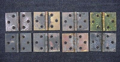 "Antique Vintage Brass Cabinet or Shutter Hinges Lot of (8) 1-1/2"" X 2-3/16"""
