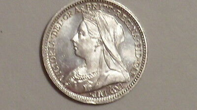1899 Silver Threepence.Mirror-Like Maundy. BU.Victoria Old Head. British Milled.