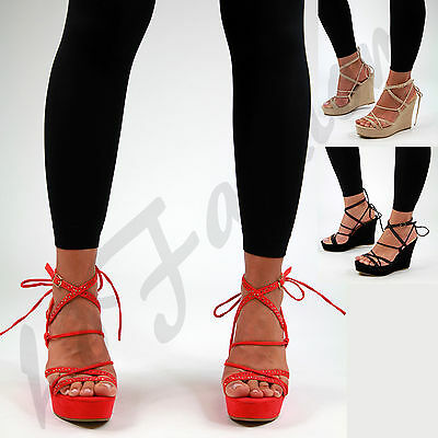 New Womens High Wedge Heel Platform Sandals Ankle Strap Lace Up Strappy Shoes