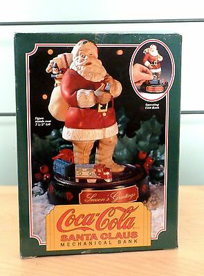 NIB Coca Cola Santa Claus Mechanical Train Bank 1993 Ertl Metal