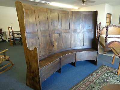 Antique Settlers Bench Primitive Settle Pew 1700s HUGE RARE! BINw/FREE DELIVERY!