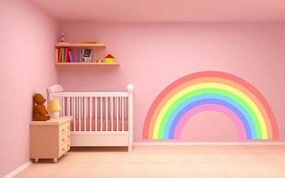 RAINBOW WALL STICKER PASTEL COLOURS plain childrens bedroom nursery decal art