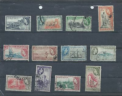 Barbados stamps. 1953 QEII series to $1.20 mainly used. (Y090)