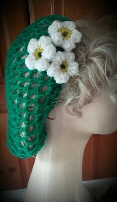 Vintage style 1940's handmade hair snood wartime ww2 hair net green daisy new