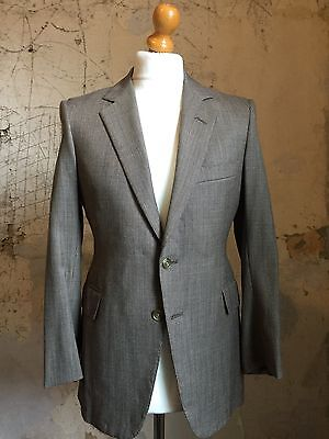 Vintage Brown Wool And Cashmere Bespoke Suit Size 38 Short