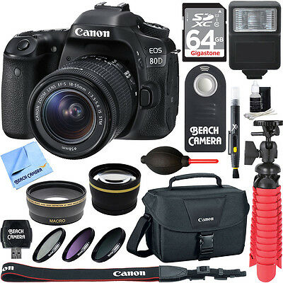Canon EOS 80D CMOS DSLR Camera w/EF-S 18-55mm F3.5-5.6 IS STM Memory & Flash Kit
