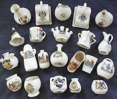22 Pieces of Assorted Antique Crested China - Mainly UK - Bermuda & Barbados