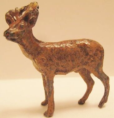 Old 1930s German Lead Miniature Christmas Reindeer for Putz Village or Sleigh