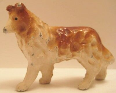 Old Metal Miniature Collie Dog for Christmas Putz Village or Dollhouse