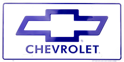 "Chevy Chevrolet Trucks Cars Blue White 6""x12"" Aluminum License Plate Tag"