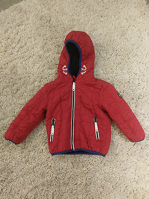 Boy's red fleece lined hooded jacket from Next age 12-18 months
