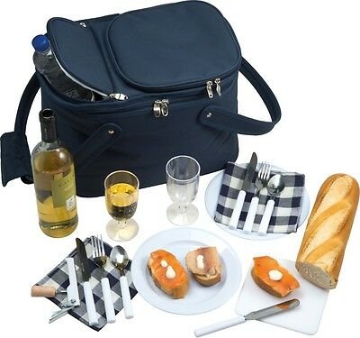 'bakersfield' Luxury Picnic Basket Bag With Cool Bag Fully Equipped [3337]