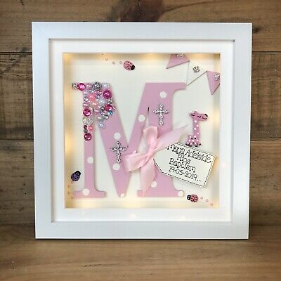 Personalised Led Light Box Frame Letter  Initial Christening/Boy/Girl/ New Baby