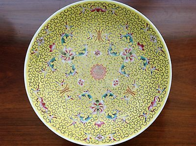 Chinese Republic Yellow Ground Famille Rose Plate