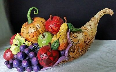 JIM SHORE 2007 HORN of PLENTY CORNUCOPIA FRUIT VEGGIES THANKSGIVING FALL 4008903