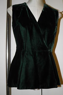 Vtg Vest Waistcoat Petite S XS SHAWN JUNIOR 'Mod Green Velvet 60s 70s Longer