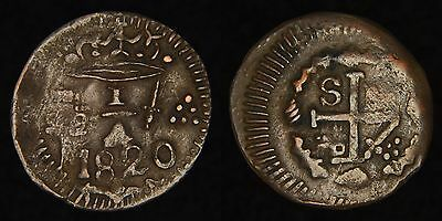 COLOMBIA - 1820 1/4 Real - Ferdinand VII Royalist Siege Coinage for Santa Marta