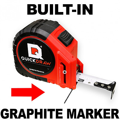 QUICKDRAW PRO Self Marking Steel Tape Measure with a Built in Pencil, 25 Foot