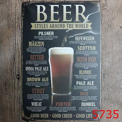 Metal Tin Sign beer styles aroung the world Bar Vintage Retro Poster Cafe ART