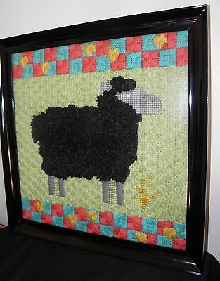 "Vtg '80's Crewel Embroidery BLACK SHEEP Colorful Background  16"" x 16"" Framed"