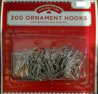 Holiday Time 200 Silver Ornament Hooks Christmas Tree Decoration Wire Hangers
