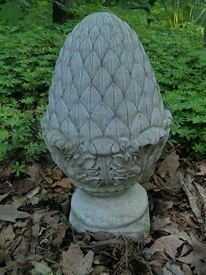 "Vintage 14"" Cement Artichoke Finial Weathered Concrete Garden Art Statue"