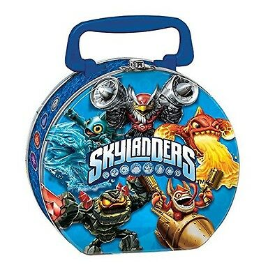 Skylanders Round Carrying Case All Metal Tin Stationery Lunch Box Lunchbox Blue
