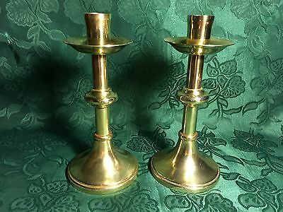BRASS CHURCH ALTAR CANDLESTICKS CANDLE HOLDERS  18 cm/ 7 inches.