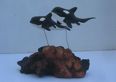 Killer Whales 2 Sea World Figurines on Stand