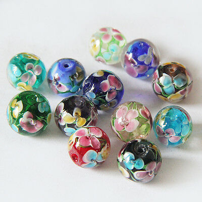 14mm Plum Inside Flower Glass Round Beads DIY Loose Spacer Beads Jewelry Finding