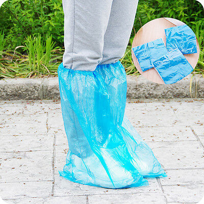 10 Pairs Waterproof Rain Shoe Unisex Plastic Disposable High-Top Anti-Slip Cover
