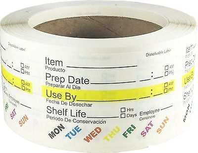 Dissolvable Shelf Life Labels for Food Rotation Use By Food Preparation Days ...