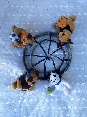 Lambs And Ivy Nursery Mobile Part Dogs With Soccer Basketball Baseball Football