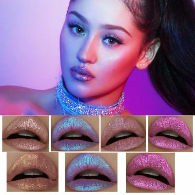 Iridescent Glitter Matte Liquid Lipstick Waterproof Beauty Makeup Lip Gloss UK