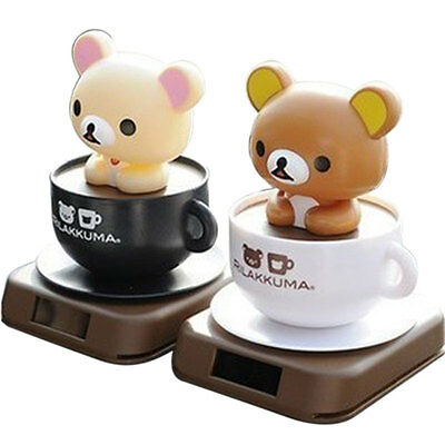 Solar Powered Dancing Coffee Cup Little Bear Shaking Head Toys Home Car Decor