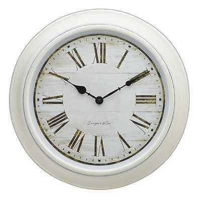 French Provincial Clock White Large 40cm Wall Home Decor Retro Vintage Rustic