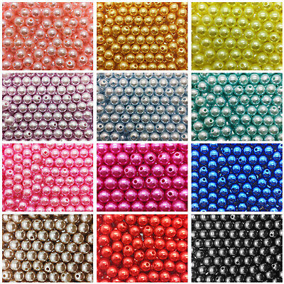 Wholesale 4mm / 6mm / 8mm /10mm Pearl Round Spacer Loose Plastic Beads