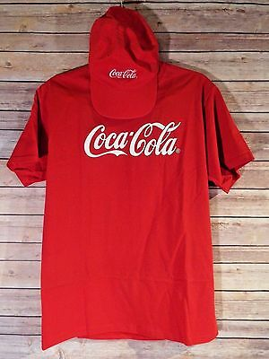 Coca Cola Printed Red T-shirt(Medium) & Embroidered Red Unstructured Hat Cap - J